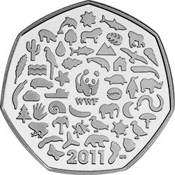 2011 WWF 50p Coin - Mintage: 3,400,000 - Scarcity Index: 18