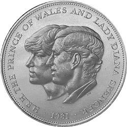 1981 Charles And Diana S Wedding 25p Crown Coin Mintage