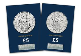 2017 Queen's Beasts Lion and Unicorn £5 Coins
