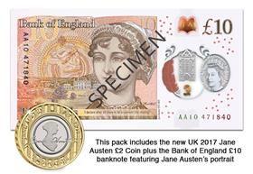 2017 Jane Austen £2 Coin and £10 Banknote Pack