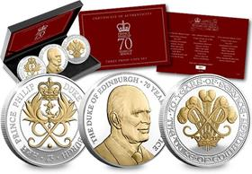 The Prince Philip 70 Years Three Coin Set