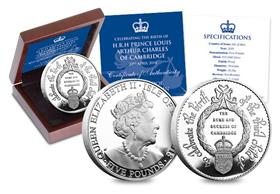 HRH Prince Louis of Cambridge Silver Proof Five Pound Coin