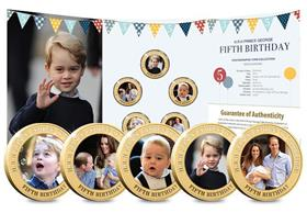 HRH Prince George's 5th Birthday Gold-plated Five Coin Set