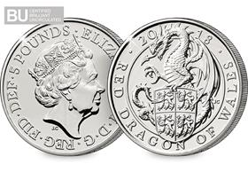 2018 Red Dragon of Wales BU £5 Coin