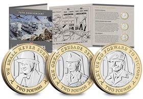 The D-Day Leaders Three Coin BU Two Pound Set