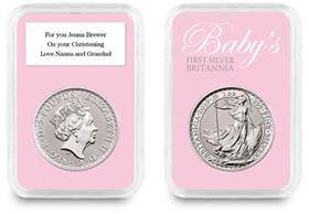 2019 Personalised Baby's First Silver Britannia in Pink