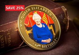 The Queen's 90th Birthday Gold-Plated Supersize Coin