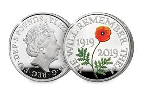 UK 2019 Remembrance Day Silver Proof £5 Coin