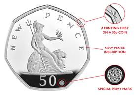 UK 2019 50 Years of the 50p Silver Proof Coin