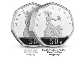 UK 2019 50 Years of the 50p Commemorative Silver Proof Piedfort 50p Co