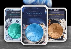 2019 Coloured Titanium Moon Landing Coin Set