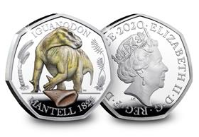 UK 2020 Iguanodon Coloured Silver Proof 50p