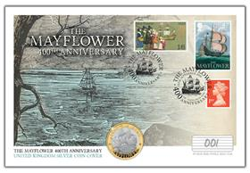 Mayflower 400th Anniversary UK Silver £2 Coin Cover