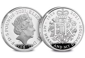 UK 2021 Queen's 95th Birthday Silver Proof £5