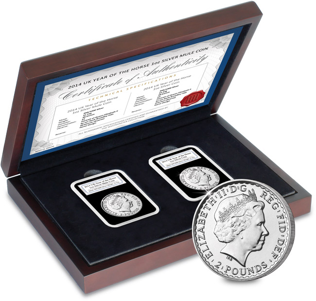 "cl datestamp presentation box 2 everslabs 014 year of horse 1oz silver - 2014 Year of the ""Mule"": the Royal Mint confirms Lunar Year and Britannia striking errors"