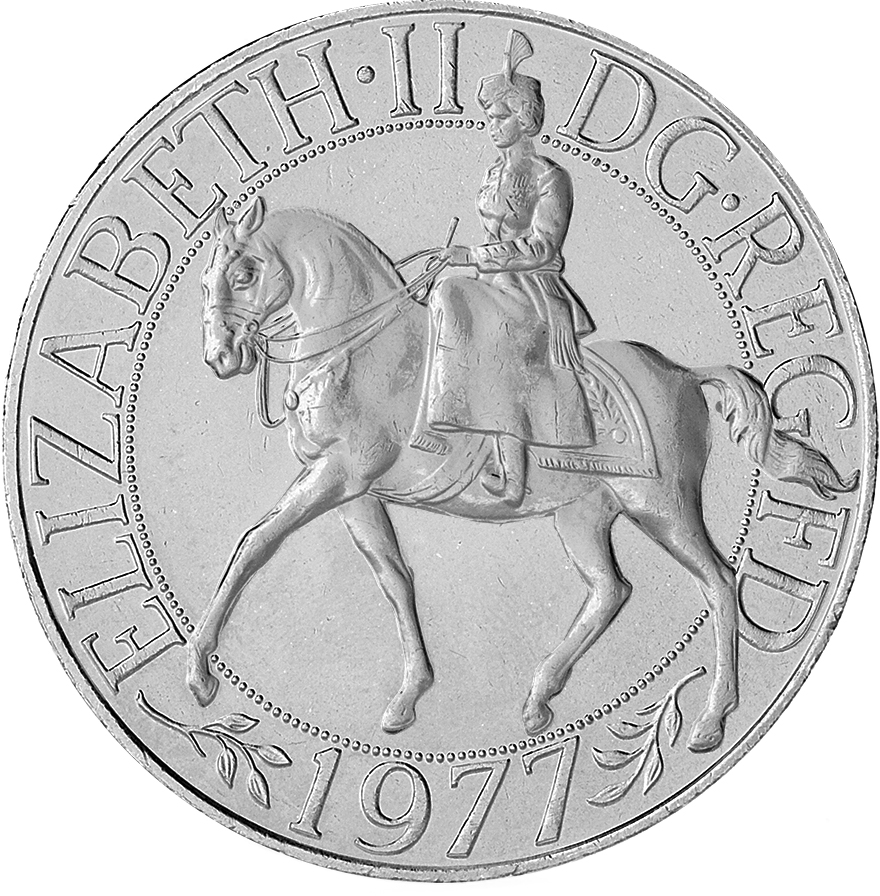 1977 crown obverse 2 - 25 pence – the 'unknown' denomination