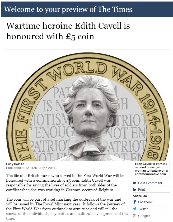 times screenshot - Confirmed: A new Edith Cavell £5 Coin
