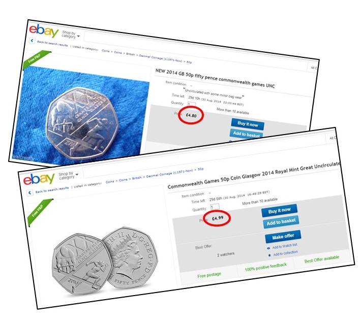 ebay 50p blog - Collectors paying 700% over face value for a Commonwealth Games 50p