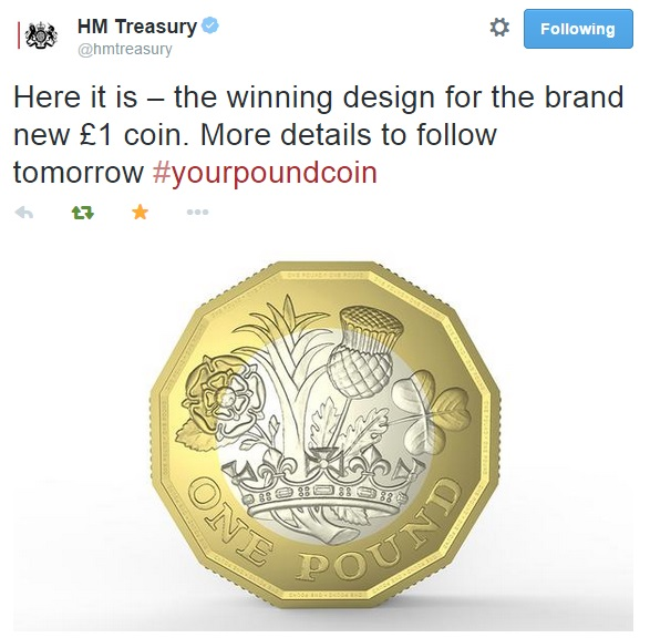 treasury tweet - A first look at Britain's New £1 Coin