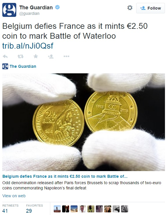 tweet - Belgium wins Battle of Waterloo with new €2.50 coin
