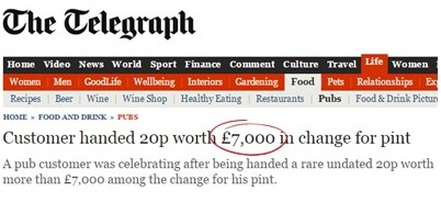 Media speculation fuelled wild estimates about the value of an undated 20p