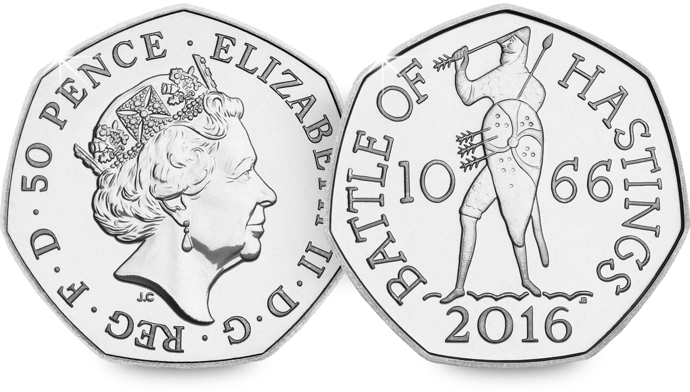 st 2016 battle of hastings 50p bu coin both sides - First look: New Royal Mint coin designs for 2016