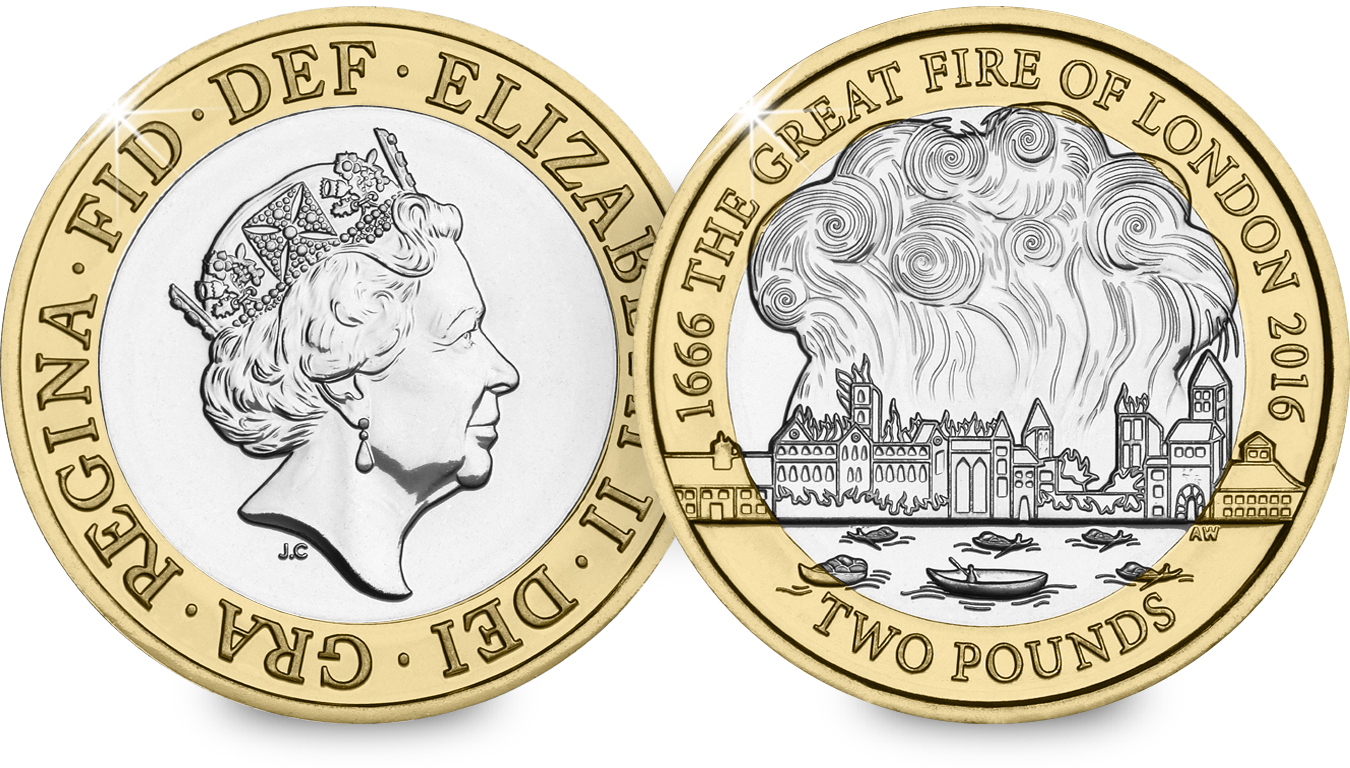 st 2016 great fire of london c2a32 bu coin both sides - First look: New Royal Mint coin designs for 2016