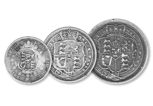 the great recoinage datestamp set three reverses - 22nd June 1816... The day Britain's coins changed forever