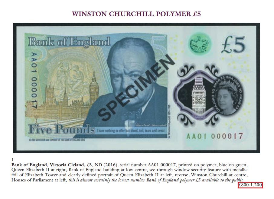 auction - This £5 banknote just sold for £4,150!