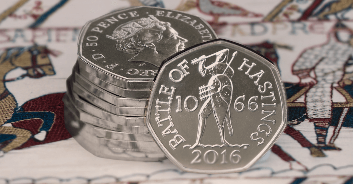battle of hastings 50p coin stack facebook 1200x627 - Will the Battle of Hastings 50p be the rarest coin of 2016?
