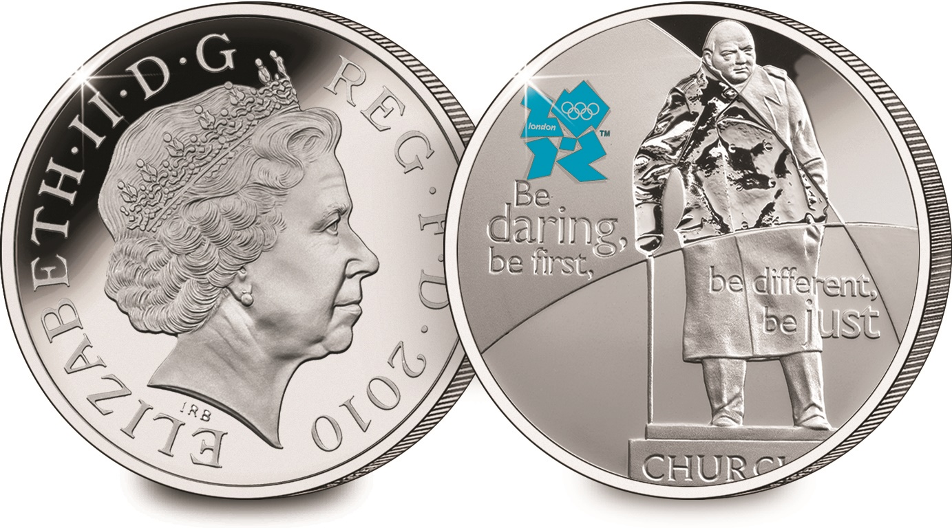 st winston churchill 2010 coin both sides with rim - Churchill – the only statesman commemorated on THREE British Crowns
