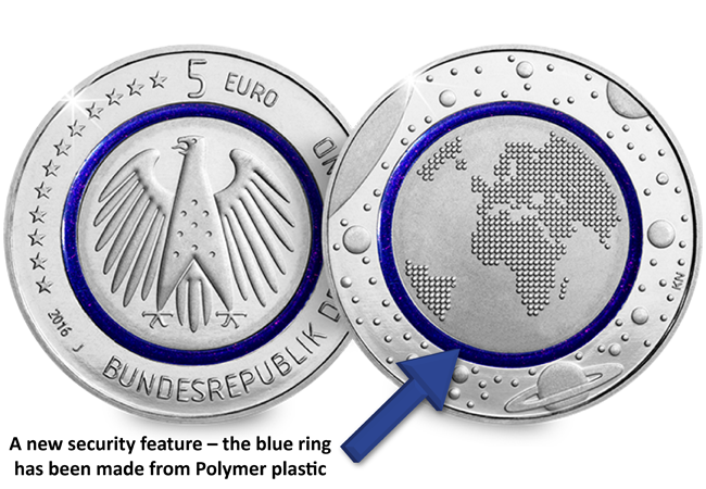 blue planet earth german 5 euro coin arrow - What's your favourite coin story of the year?