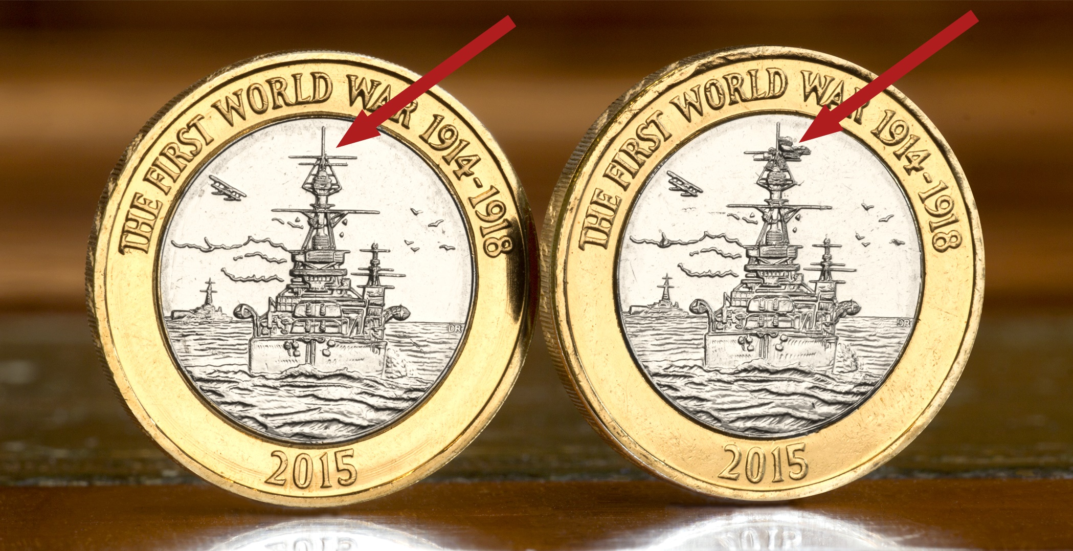 st change checker royal navy 2 mis strike with arrows - Is there an even rarer version of the Navy £2 in circulation?