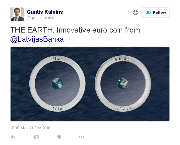 earth coin twitter - A work of art - Latvia's innovative 'Earth' Coin