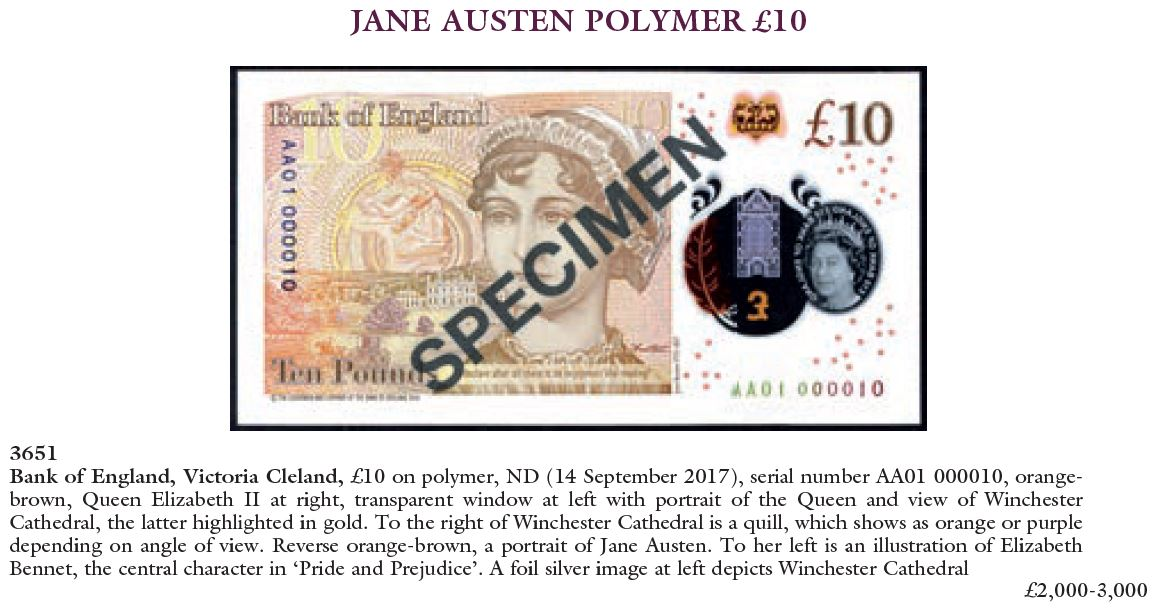 c2a310 note auction - A new Polymer Jane Austen £10 note has sold for £3,600!
