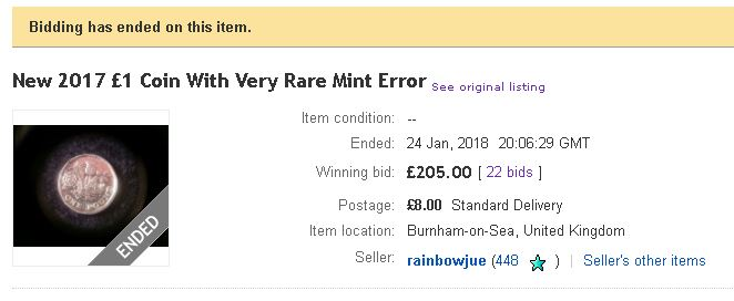 One pound eBay - Is this a new £1 minting 'error'?!