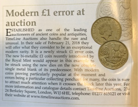 one pound Auction - Is this a new £1 minting 'error'?!