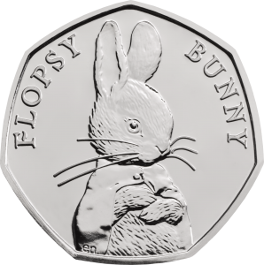 Flopsy Bunny 2018 UK 50p Brilliant Uncirculated Coin rev uku42886 298x300 - Brand new 2018 Beatrix Potter 50p coins announced!