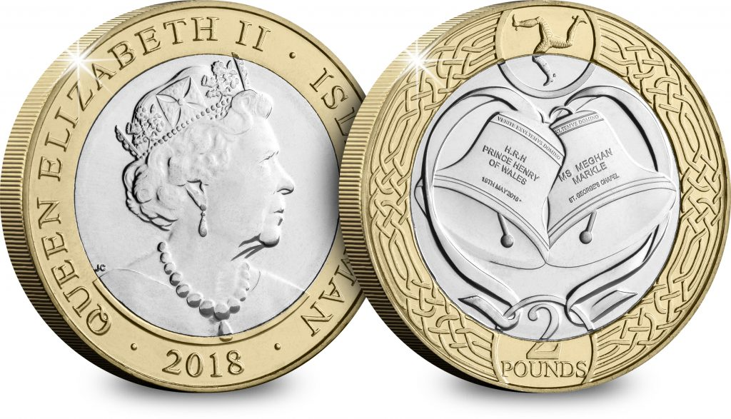 ST Harry Meghan Royal Wedding 2018 IOM CuNi BU 2 Coin Both Sides 1024x587 - New £2 coin to enter circulation to celebrate the royal wedding