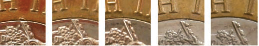 Obverses tip of diadem 1 - Spot the difference! Variations in the 12 sided £1 explained.