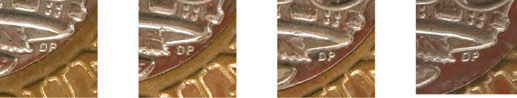 Reverses gap between DP and edge of inner ring - Spot the difference! Variations in the 12 sided £1 explained.