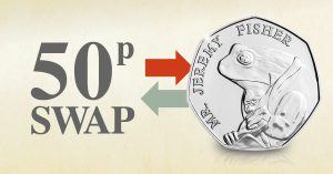 DN 2018 Beatrix Potter Jeremy Fisher 50p swap facebook banner 300x157 - Jeremy Fisher 50p Coin Swap now open!