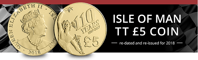 Isle of Man TT 5 Pound Coin E mail Banner No Button 1 - The coin re-issued for Isle of Man TT fans...
