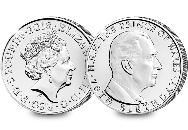 70th Birthday of the Prince of Wales 2018 UK 5 BU obverse reverse 2 - Prince Charles in coins...