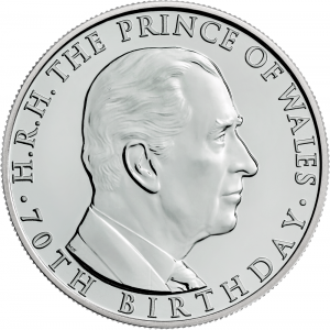 The 70th Birthday of the Prince of Wales 2018 UK 5 BU Coin uku51886 reverse 300x300 - Prince Charles in coins...