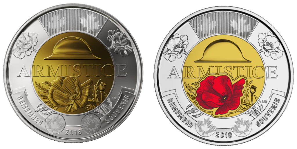 canadian armistice coins 1024x515 - Discover the coins issued to mark the Armistice centenary from around the world...
