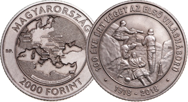 Hungary HUF 2000 - Discover the coins issued to mark the Armistice centenary from around the world...