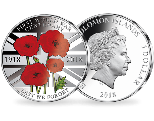 Solomon Islands dollar - Discover the coins issued to mark the Armistice centenary from around the world...