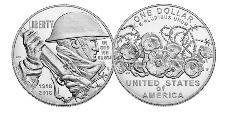 us wwi centenary dollar 1 - Discover the coins issued to mark the Armistice centenary from around the world...
