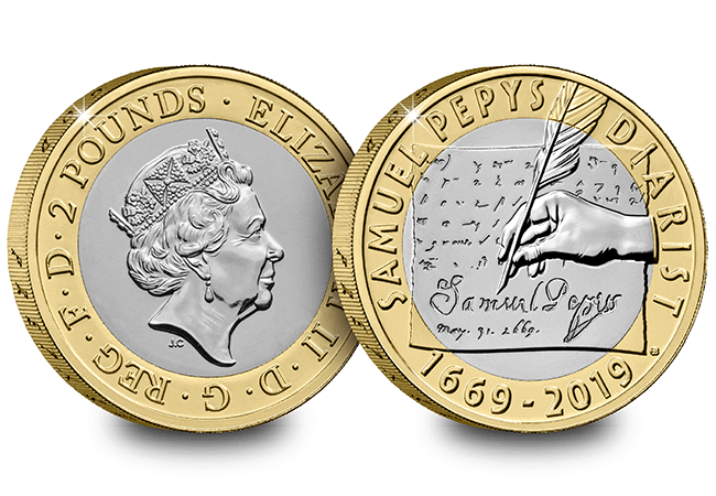 AT 2019 Certified BU Samuel Pepys 2 Pound Coin Product Images Both Sides - First look: New Royal Mint coin designs for 2019!